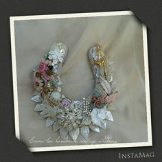 I made this beautiful Horseshoe for my Daughter ,I used vintage brooches & buttons ect .I also added my grandmother's watch face. why not try to make one yourself .