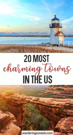 20 Most Charming Towns in the US. Strolling the streets of one the many charming towns in the US to a wonderful way to spend a day. These quaint places often have an interesting history, beautiful buildings and some fabulous boutique shopping. Check out these unique US towns makes for a lovely way to spend a weekend away. Beautiful Towns in the US | US Towns | US Weekend Getaways | Charming US Towns | US Towns to Visit | Prettiest Towns in the #USA #travel