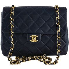Pre-Owned Chanel Dark Navy Lambskin Small Classic Quilted Flap Bag (3,550 BAM) ❤ liked on Polyvore featuring bags, handbags, dark navy, chanel handbags, vintage purse, quilted handbags, blue handbags and quilted chain purse