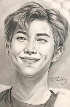 Kpop Drawings, Art Drawings Sketches Simple, Pencil Art Drawings, Realistic Drawings, Look Wallpaper, Bts Wallpaper, Mini Canvas Art, Bts Rap Monster, Celebrity Drawings