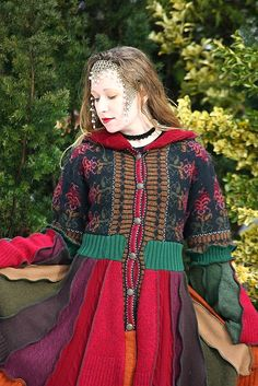 Reserved- Upcycled Norwegian Sweater Coat with a Medieval Liripipe Hood and Bell Sleeves by SnugglePants