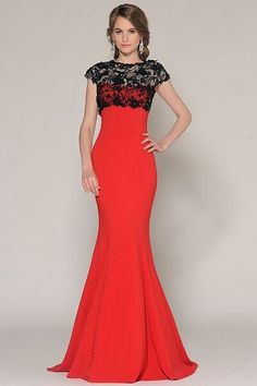 $120.79-Elegant Mermaid Lace Jewel-Neck Jersey  Red and Black Long Mother of the Groom Dress with Cap-Sleeves. http://www.ucenterdress.com/mermaid-lace-cap-sleeve-jewel-neck-floor-length-jersey-prom-dress-pMK_300524.html.  Tailor Made mother of the groom dress/ mother of the brides dress at #UcenterDress. We offer a amazing collection of 800+ Mother of the Groom dresses so you can look your best on your daughter's or son's special day. Low Prices, Free Shipping. #motherdress
