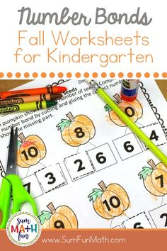 Do your kindergarten or 1st grade students need more addition practice? Try these FREE number bond cut and glue worksheets that are more engaging than a standard worksheet. They have a cute fall pumpkin theme! Addition and Subtraction within 10. #addition #subtraction #freeprintables #fallprintables Number Bonds Worksheets, Number Bonds To 10, Fun Math Activities, Math Resources, Number Bond Games, How Many Kids, Addition And Subtraction, Math Lessons, Kindergarten