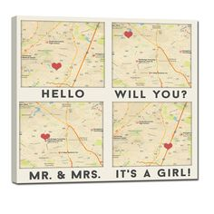 "4 map locations square canvas, Where you Met, Got Engaged, Said I do, Home Sweet Home, It's a Boy or Girl With just the address of Your ""special"" locations, we will create a one of a kind Custom Map Canvas for you. Using any wording over your custom canvas map art and a HEART to mark your location. Met, Engaged, Wed. Hello, Will You, I do. It's Twins"