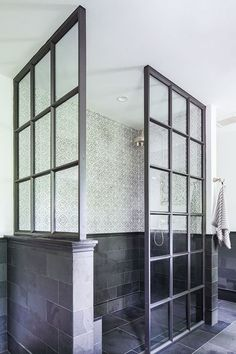 Black framed 3 sided glass shower enclosure with wall. Shower surround design idea only (not tile choice) Mold In Bathroom, Bathroom Renos, Simple Bathroom, Bathtub, Hall Bathroom, Wainscoting Bathroom, Bathroom Remodeling, Tile Bedroom, Shared Bathroom