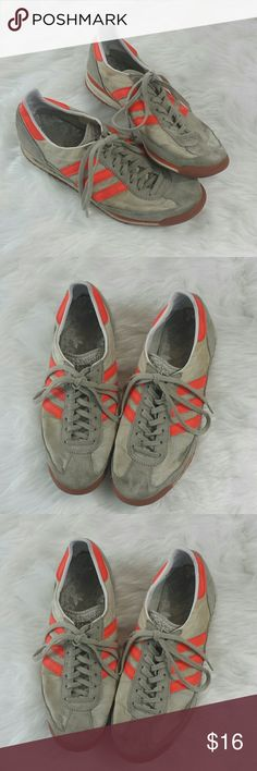 Adidas sneakers It's no secret these classic Adidas arent perfect & need a lil TLC- but they have that sweet vintage vibe! Soles & inside footbed are in good shape & have lots of life left! Cool neon orange stripes! Would look so vintage chic with a pair of cut offs & plain tee! Labeled men's size US 8. Would be about a women's 6/7 I believe! Adidas Shoes Sneakers