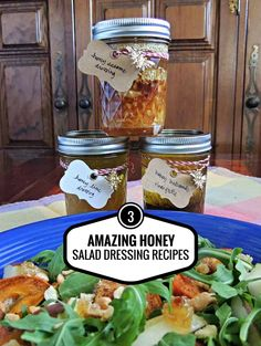 Make three quick and easy honey salad dressings - great for delicious salads or for gourmet gifts for the holidays! Honey Salad Dressing Recipe, Orange Blossom Honey, Honey Recipes, Gourmet Gifts, Vegan Foods, Salad Dressings, Gift Baskets, Stocking Stuffers, Holiday Recipes