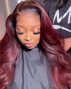 Burgendy Hair Color, Burgundy Hair Black Girl, Burgundy Hair Ombre, Hair Color For Black Hair, Red Weave Hairstyles, Baddie Hairstyles, Curly Hair Styles, Natural Hair Styles, Wine Hair