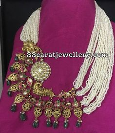 Fancy Pearl Necklace with Big Side Motif