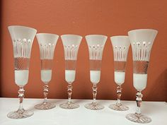 Set of 6 Lead Crystal White/Clear Champagne Glasses w/Modern Cut Hand Made Champagne Glasses, Clip Art, Crystals, Tableware, Modern, Handmade, Awesome, Check, Dinnerware