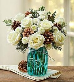 Shop Christmas flowers & gifts for delivery to celebrate the season! Find beautiful Christmas floral arrangements and holiday flowers. Winter Flower Arrangements, Christmas Floral Arrangements, Christmas Flowers, Winter Flowers, 800 Flowers, Silk Flowers, Share Pictures, Flower Pot Design, Floral Design