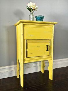 Shabby Chic Yellow Accent Table - Custom Order for Araceli