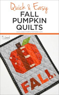 If you love fall decorating but dont have a lot of time for quilting try one of these Quick and Easy Fall Pumpkin Quilts. Make one in a couple of hours! Halloween Sewing, Fall Sewing, Halloween Quilts, Sewing For Kids, Halloween Fabric, Halloween Fun, Quilting For Beginners, Quilting Tips, Quilting Projects