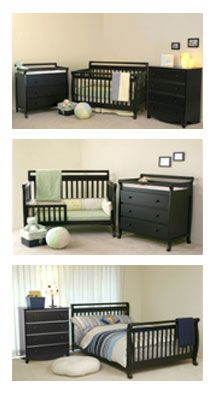 Convertible Crib, Day Bed, Full Size Bed. Also changing table and dresser follows the kid.