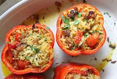 Stuffed Peppers with Orzo and Chorizo