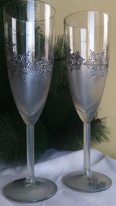 Wedding Glasses Winter Champagne Flutes Snowflake Champagne glasses winter theme by PaintedGlassBiliana, $44.70