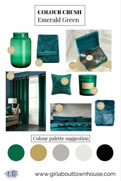 Dress your interior with these gorgeous Emerald Green home accessories. Add some drama to you colour scheme.