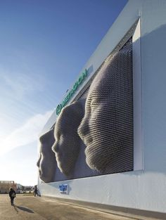 The Kinetic Facade of the MegaFaces Pavilion - Sochi 2014 Winter Olympics - a project by Asif Khan engineered by iart - iart. Kinetic Architecture, Facade Architecture, Interactive Architecture, Dynamic Architecture, Interactive Installation, Installation Art, Maths In Nature, Kinetic Art, Kinetic Energy
