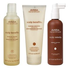 AVEDA Scalp Benefits Shampoo, Scalp Benefits Conditioner, Scalp Remedy Dandruff Solution... designed to gently cleanse, nourish, and balance the scalp... Dandruff Solution designed to gently exfoliate the scalp and reduce flaking by up to 41% in one week
