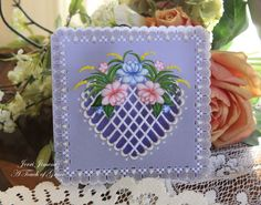 Good Friday Morning! I have a parchment card to share with you that I made a few months ago.  I truly love Parchment craft, it's very soothing and relaxing, a great way to de-stress and the results are a beautiful card to gift to a close friend or loved one.  For details, please see my blog, [url=www.jerrikay.blogs.splitcoaststampers.com/2014/03/20/heart-with-flowers-parchment-card/]A Touch of Grace[/url].
