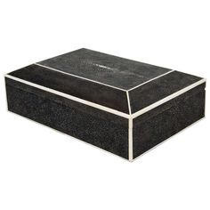 Black Shagreen Box with White Bone Trim | From a unique collection of antique and modern boxes at https://www.1stdibs.com/furniture/decorative-objects/boxes/