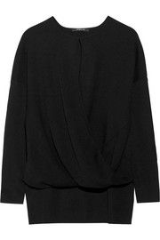 Wrap-effect cashmere and silk-blend sweater