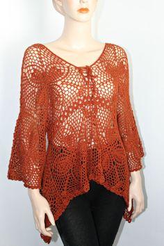 Crochet Tunic  Handmade Lace Motifs by CasadeAngelaCrochet on Etsy, $105.00
