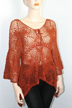 Lace Crochet Handmade Tunic Top. by CasadeAngelaCrochet on Etsy, $105.00
