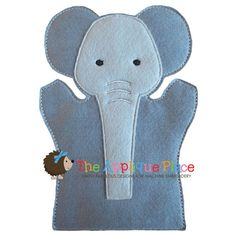 Elephant Hand and Finger Puppet In The Hoop Machine Embroidery Applique Design