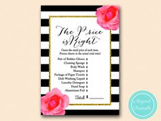 price is right bridal shower game Black by MagicalPrintable