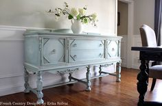 THIS CUSTOM FINISHED BUFFET IS ON HOLD FOR HEATHER. Similar custom antique silver grey finish can be ordered as a custom work. This ornately carved ca. 1920-30s Jacobean sideboard was made and marked by BAKER FURNITURE, Allegan Michigan. This exceptionally well made buffet delivers an elegant look to any dining room, it offers lots of storage, it is perfectly imperfect and features gorgeous carved details both on front and sides of cabinet, 2 cabinet doors with 1 shelf inside, 2 solid wood…