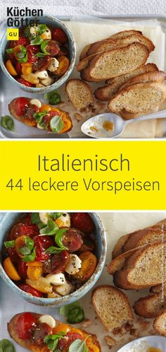 Who doesn't dream of a culinary journey? No problem! We have the 44 best recipes for Italian starters here. Whether classic bruschetta, juicy melon with spicy ham or focaccia with ch Spicy Appetizers, Italian Appetizers, Appetizer Recipes, Dinner Recipes, Italian Soup, Italian Dishes, Italian Recipes, Cooking On The Grill, Fun Cooking