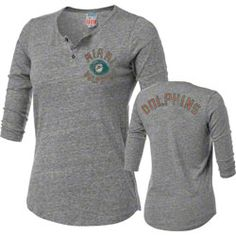 Miami Dolphins Women s Half Time 3 4 Sleeve Tri-Blend Henley  34.99 http  d30090e70