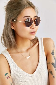 Mimi Geo Round Sunglasses - Urban Outfitters