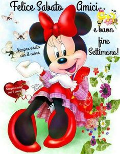 Buongiorno buon sabato e buon Weekend Good Morning, Minnie Mouse, Disney Characters, Fictional Characters, Pictures, Aurora, Facebook, Coffee, One Day