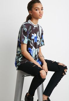 Longline Watercolor Floral Top | Forever 21 - 2000052841