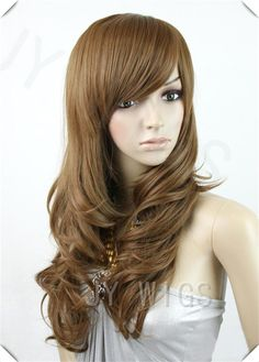 Fashion New Womens Girls Cosplay Long Wavy Curly Full Bangs Hair Party Wig Wigs Side Fringe