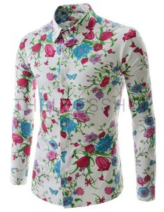 Stylish Shirt Collar Slimming Colorful Floral Pattern Long Sleeve ...