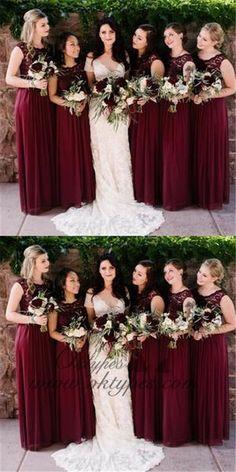 A-Line Round Neck Wine Chiffon Bridesmaid Dresses With Lace, . A-Line Round Neck Wine Chiffon Bridesmaid Dresses with Lace, A-Line Round Neck Wine Chiffon Bridesmaid Dresses with Lace, Wine Color Bridesmaid Dress, Davids Bridal Bridesmaid Dresses, Burgundy Bridesmaid Dresses, Bridesmaids, Long Sleeve Wedding, Wedding Dress Sleeves, Luxury Wedding Dress, Wedding Gowns, Wedding Tips