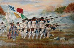 Troupes de la Marine combatiendo en las Llanuras de Abraham, Quebec, 1759.