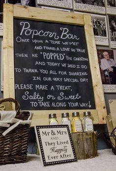 Popcorn bar at a wedding future mrs, rustic wedding favors , Wedding Popcorn Bar, Wedding Party Favors, Wedding Wishes, Wedding Signs, Wedding Reception, Wedding Decorations, Wedding Bells, Wedding Catering, Reception Food