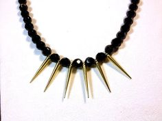 Spikes Statement Necklace in Black and Gold by AtelierYumi on Etsy