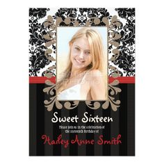 Red And Black Vintage Lace Damask Sweet Sixteen Card Personalized Invitations
