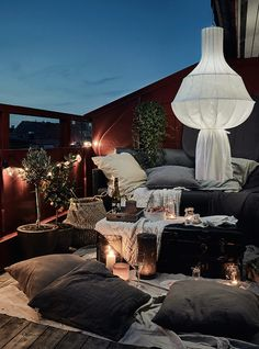 Cosy scandinavian balcony in the summer. Nightsky.