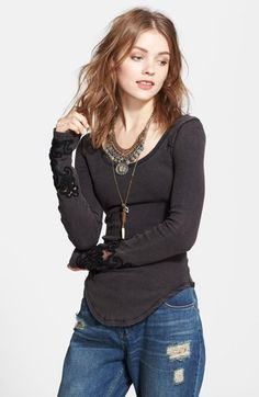 Free People 'Masquerade' Beaded Cuff Thermal Top available at #Nordstrom