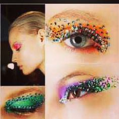 Neon butterfly patmcgrath Christian Dior rhinestones and neon and bright colored eyeshadows makeup inspiration