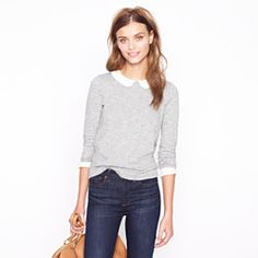 Peter Pan collar tee - J.Crew  ...this looks super cute on! Sold out online in grey, but luckily able to snag it in store