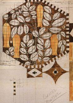 Textile Sketch Design of a woven velour carpet for Palais Stoclet Pencil and watercolor c. 1910