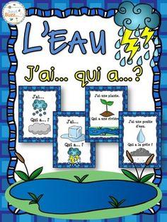 """L'eau - le cycle de l'eau - jeu """"j'ai... qui a...?"""". Jeu très amusant pour pratiquer le vocabulaire de l'eau. 28 cartes avec les images et 28 cartes avec les mots pour faire la différenciation.avec vos élèves."""