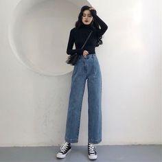 Pinatra Plain Wide-Leg Jeans / Plaid Blazer / Long-Sleeve Turtle Neck T-Shirt Retro Outfits, Korean Outfits, Trendy Outfits, Vintage Outfits, Cool Outfits, Fashion Outfits, Simple Outfits, Fashion Vintage, Korean Fashion Trends
